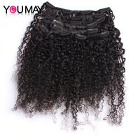 Kinky Curly Clip In Human Hair Extensions 120g/Set 3B 3C Mongolian Clip Ins Extensions Remy Hair You May