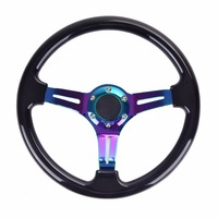 Universal 350mm 14inch Car ABS Steering Wheel Neo Chrome Spoke Classic Momo Steering Wheel Painted Coloured