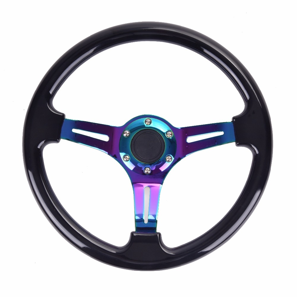 Universal 350mm 14inch Car ABS Steering Wheel Neo Chrome Spoke Classic momo Steering wheel Painted Coloured