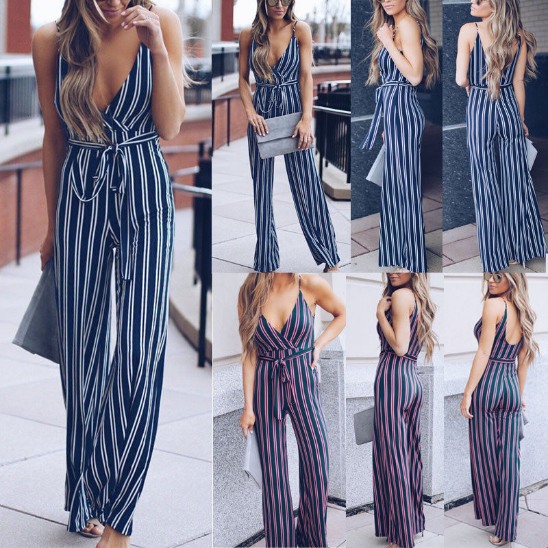 79a6b37adf5 Ruffle striped sexy jumpsuit Boho rompers women wide leg jumpsuit 2018  elegant summer sleeveless jumpsuit with