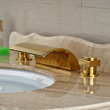 Golden Deck Mount Dual Square Handles Bathroom Basin Faucet Widespread 3 Holes Washbasin Mixer Taps