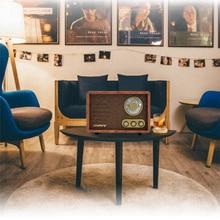 Tabletop AM/FM Hi-Fi Radio Vintage Retro Classic Radio W/ Built-in Speaker Treble&Bass Control Hand-crafted Wood