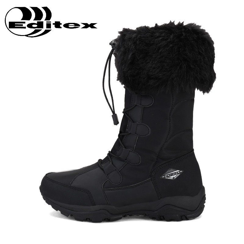 EDTIX Winter Outdoor Snow Boots Women Anti-Slippery Waterproof Thermal Ski Shoes Womens Plus Cashmere Travel Hiking Shoes ED1707 yin qi shi man winter outdoor shoes hiking camping trip high top hiking boots cow leather durable female plush warm outdoor boot