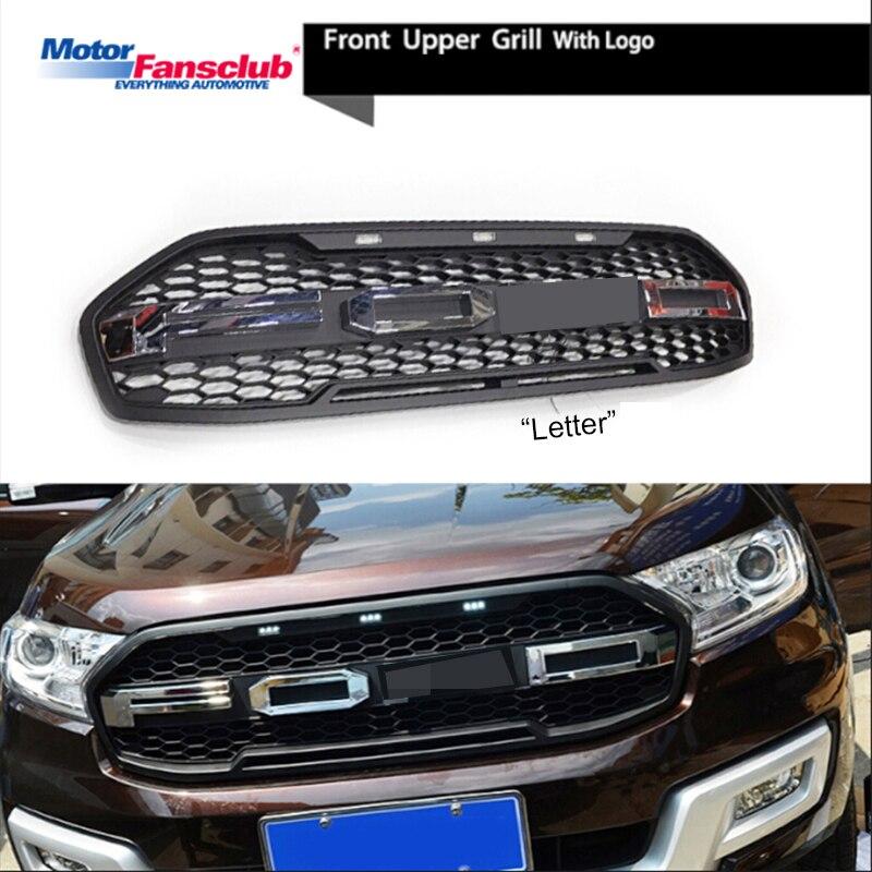 Auto Da Corsa Griglia Per Ford Everest Endeavour 2015-2017 Raptor Griglia Con Il Distintivo LED Maglia Radiatore Nastro Paraurti Anteriore modificare