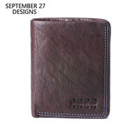 Men Slim Wallet Genuine Leather Luxury Vintage Male Short Bifold Clutch Wallets Handmade Retro Small Women Credit Card Purses