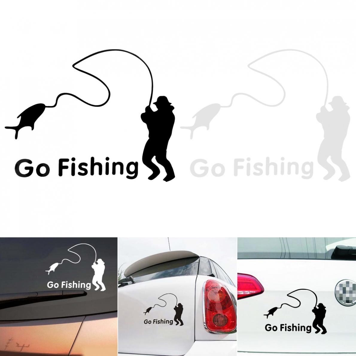 2 Colors 14 x 11CM PET Fishing Pattern Reflective Material Car Sticker Accessories