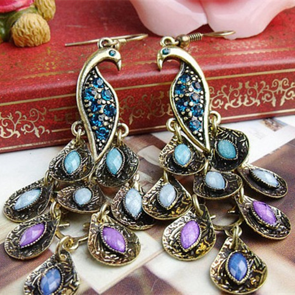 crystal earrings long vintage peacock eardrop ethnic earrings for women 2016  animal trendy Fine jewelry christmas