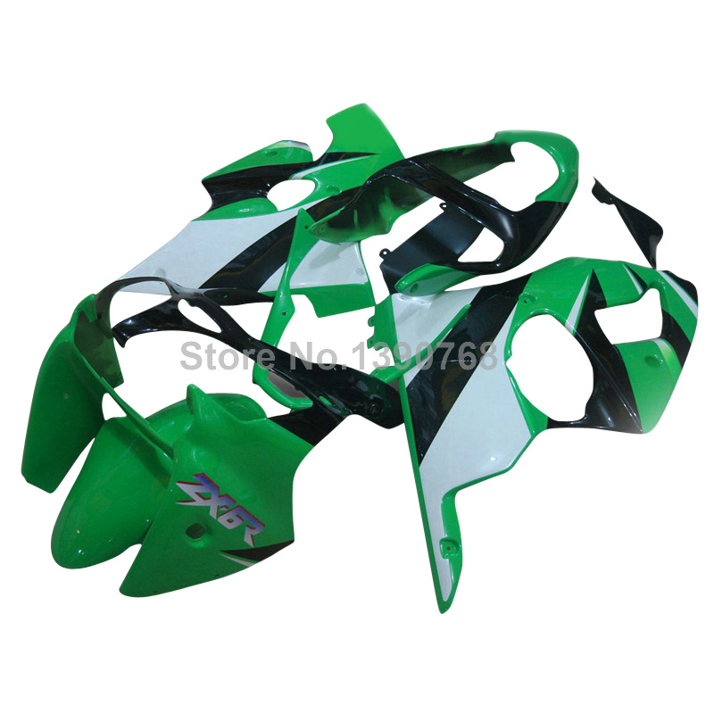 Injection molding motorcycle parts for Kawasaki ZZR600 2005-2008 green white black fairing kit ZZR 600 05 06 07 08 fairings YQ16