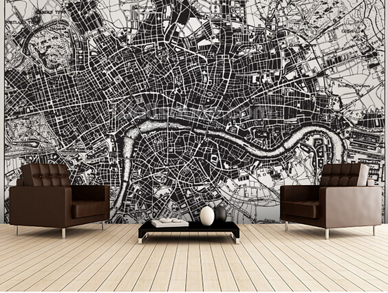 Custom modern wallpaper.Historical Map of London,3D retro photo for living room bedroom restaurant wall waterproof PVC wallpaper map of fates