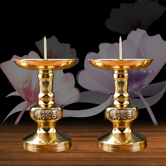 Brass Candlestick Ornaments Copper Felicitous Votive Candle Holder Buddhist Candle Lamp Metal Classic Religious Candle Stick