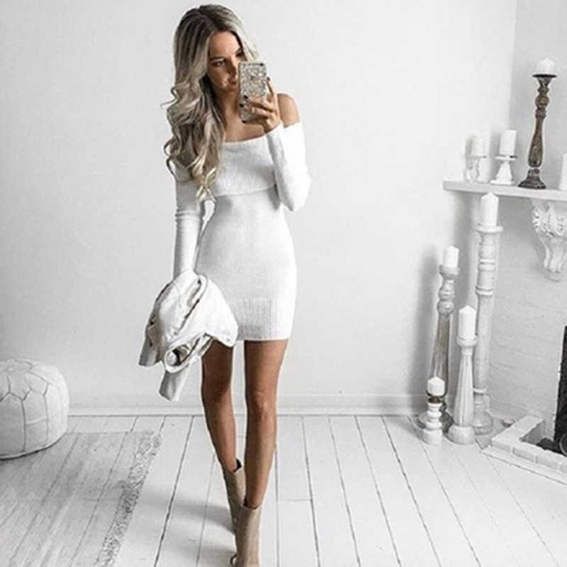 ... Autumn Winter Off Shoulder Knitted Bodycon Dress Women Sexy Long Sleeve  Party Dress 2018 Mini Dresses 74bf4abfe034
