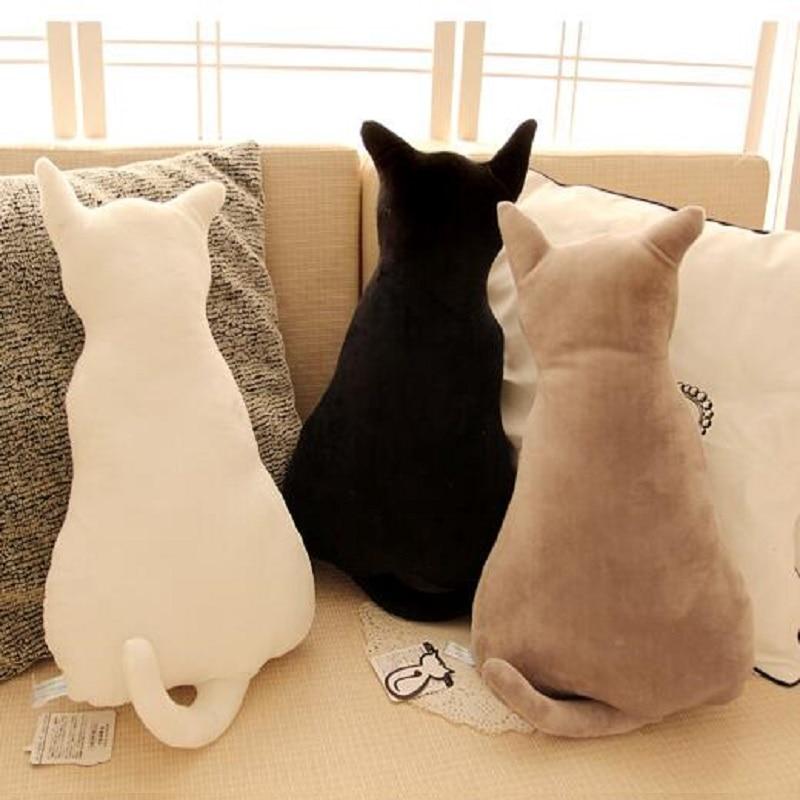 Cat Plush Cushion Pillow Solid Color Cut Cushion Cat Shape Filled Cushion Pillow