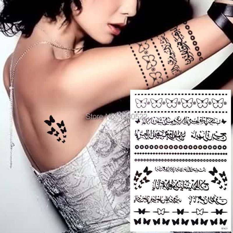2 Feuilles Tatouage Arabe Temporaire Mots Noirs Bijoux Inspire Tatoo Tatuagem Temporaria Femmes Corps Art Taille 20 5x14 5 Cm Aliexpress