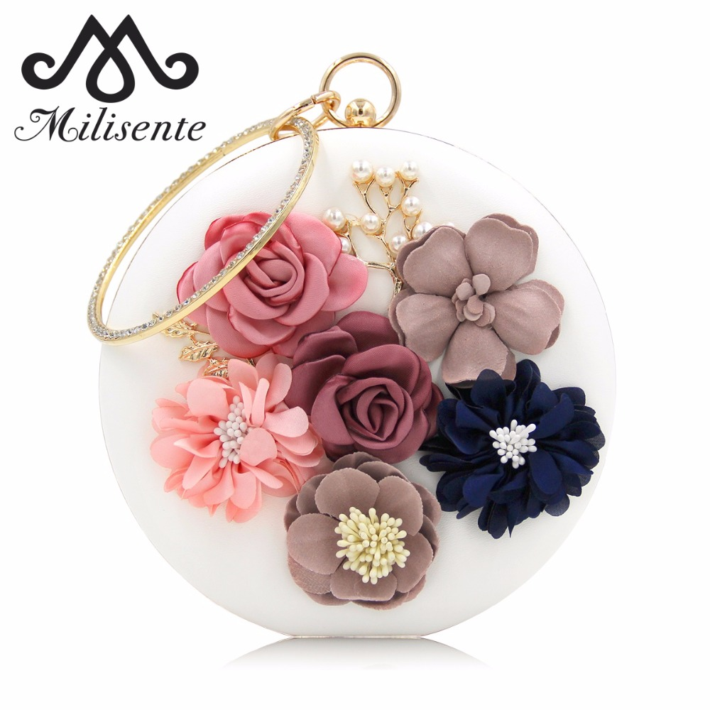 Milisente 2018 New Women Evening Clutches Bags Ladies Flower Wedding Bag Day Clutch Purse Female Party Bag milisente brand women evening bags top quality fantasy rose party purse clutches wedding bag