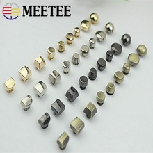 10pcs Meetee Metal Nail Buckle Rivet Screw Leather Belt Covered Buttons DIY Bag Accessories Fastner Press Studs Buckles