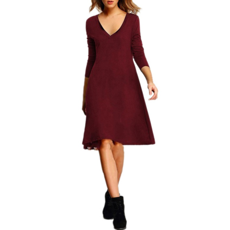 Causal V Neck Ladylike vestidos Long Sleeve Business Women Straight Shift Loose Dress Hyperbolic Hem Long Shirt Dresses