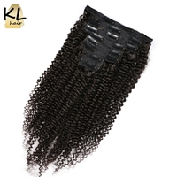 KL Hair Mongolian Kinky Curly Virgin Hair Clip In Human Hair Extensions For Black Women Clip