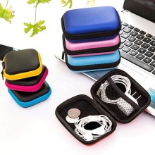 Portable Zipper Hard Headphone Case PU Leather Earphone Bag Protective Usb Cable Mini Earbuds Pouch Case bach stradivarius pu leather hard case bag for trumpet