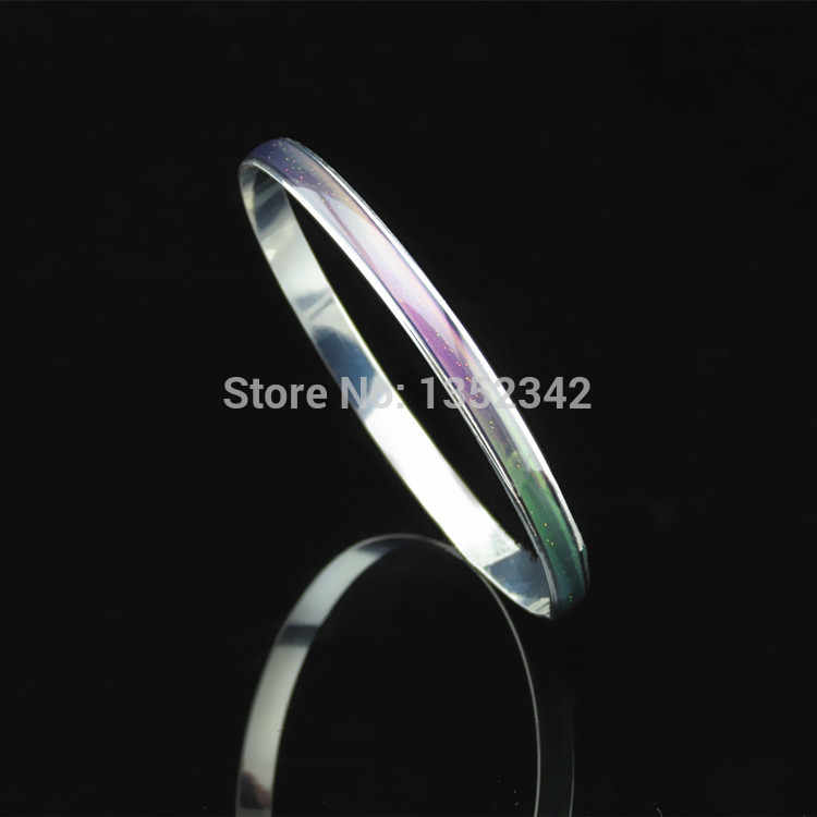 Creative Christmas gifts Stainless Steel Bracelets Bangles wide 6mm temperature mood change color bracelets Women jewellery