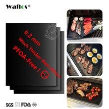 WALFOS сверхтолстый 0,2 мм термостойкий тефлоновый коврик для выпечки, коврик для барбекю и гриля, многоразовый антипригарный коврик для барбекю и гриля