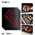 WALFOS Extra thick 0.2mm heat resistant teflon baking mat BBQ Grill Mat Reusable non-stick barbecue grilling sheet liner bbq mat