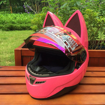 Motorcycle helmet with cat ears Pink helmet race antifog personality design with horn capacete moto casco full face helmet
