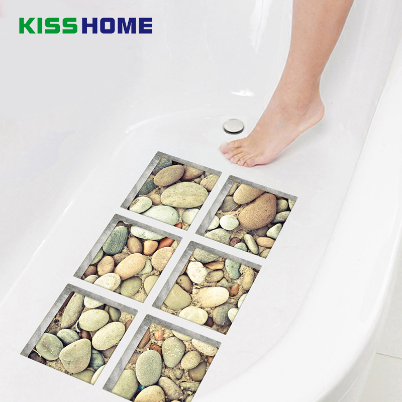 6pcs/bag Bathtub Stick Wall Sticker Imitation 3D Realistic Creative Bathroom Mat 15x15 Cobblestone Underwater World Jigsaw Mats ...