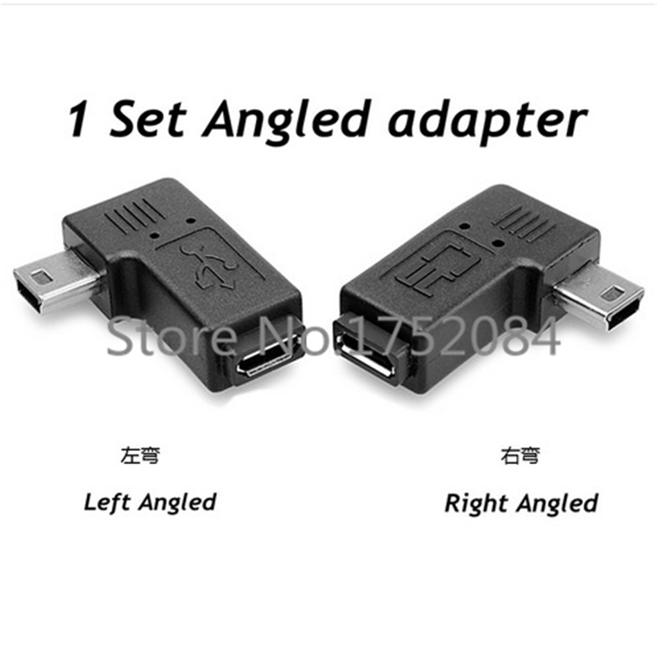 1 Set 90 Degree Left /Right Angled Micro USB Female to Mini USB Male Converter Charge Data Sync Power Adapter for Phone PC