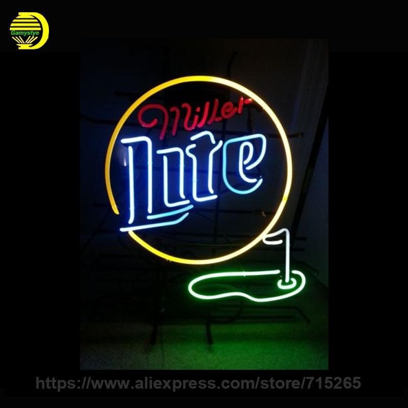 Custom Neon Signs Miller Light font b Golf b font 19x15 Handmade Glass Tube Neon Light