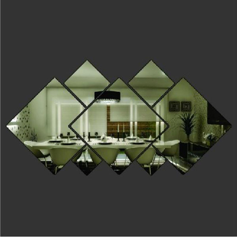 Hot shining diamond shape acrylic mirror effect silver for Stickers para pared decorativos