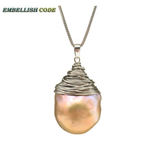 handmade light golden purple baroque pearl flameball silver color wire pendant necklace 16'' 18'' box chain special for Lady