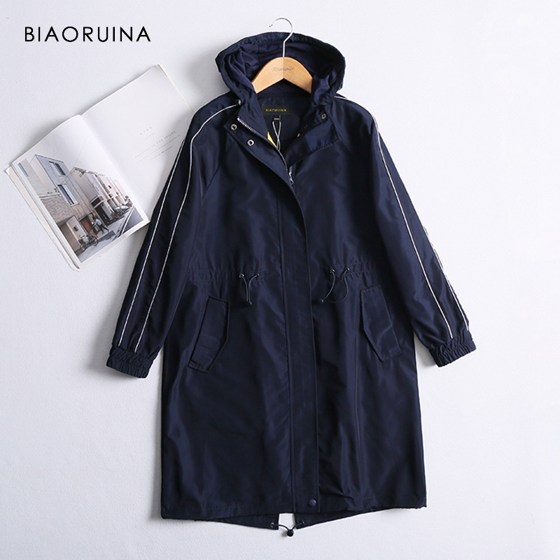 BIAORUINA Women Navy Casual Breathable Long Hooded   Trench   Coat Female Fashion Loose Elastic Waist Coar Fashion Outerwear