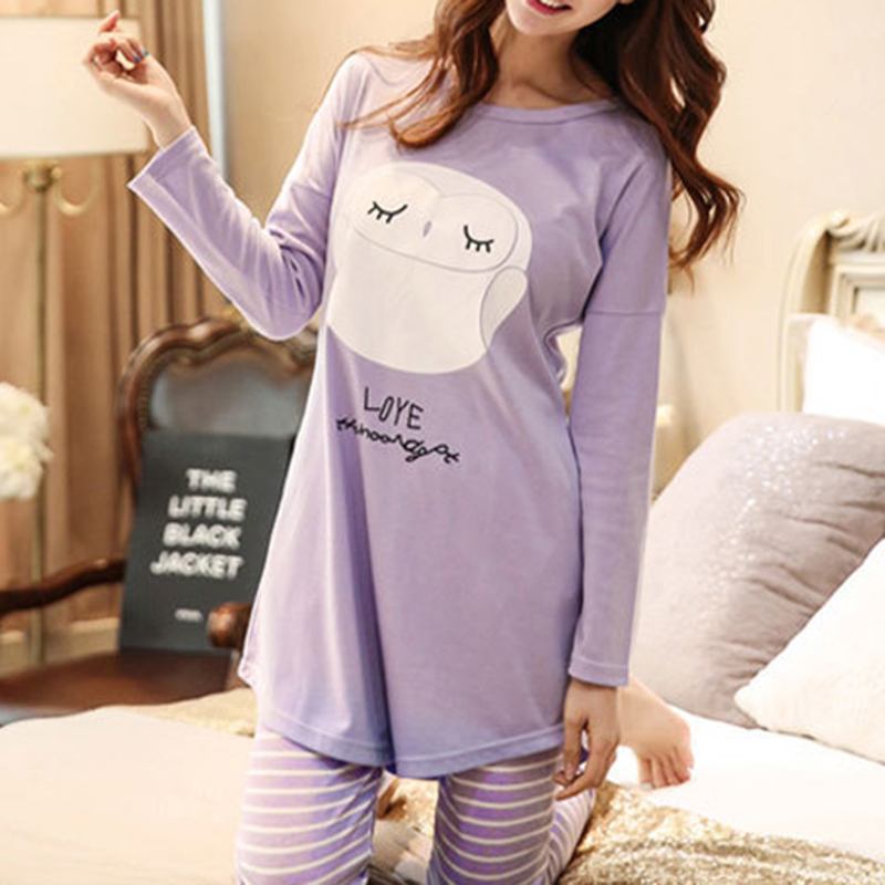 2019 New Arrival Women   Pajamas     Set   Cotton Striped Long Sleeve Tops Pants Sleepwear Female Home Clothes