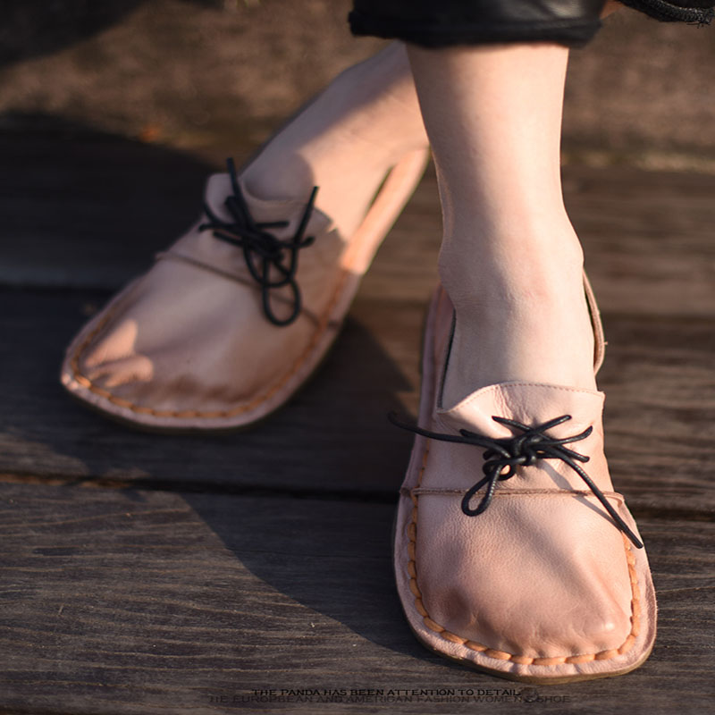 Artmu En De Printemps Main Nouvelles Y21d8l Cuir Plates La Souple Femmes Chaussures Doug Semelle Coffee Art Vachette D'origine À BqrXw0B