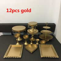 12pcs/lot gold white lace metal crystal cake stand candy bar Dessert cake plate pan decoration wedding cake display props