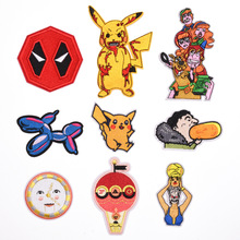 New Arrival Cartoon Pikachu Daad Pool Iron on Patch Movie TV Game Series Cosplay Costume Eat Hot Dogs Embroidered Emblem Badge