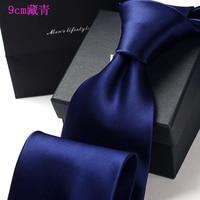 High grade dress tie Men's tie up business professional wedding the groom multicolor tie 9 cm wide pure color tie
