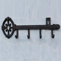 Cast Iron Skeleton Key Rack Holder Wall Decoration with 4 hooks