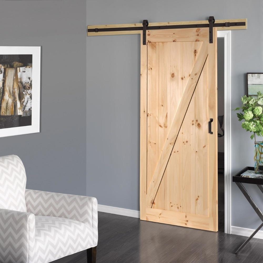 KINMADE 5ft 6ft 6 6ft 8ft 10ft Black Antique Style Steel Sliding Barn Rustic Wood Door