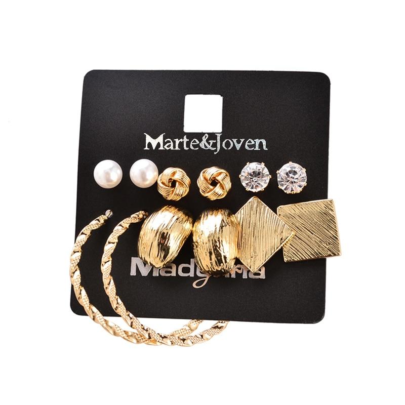 Marte & Joven Nova moda 6 parova naušnica setovi zlatne boje legure - Modni nakit - Foto 4