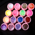 New 16 Pcs Mix Color Glitter Hexagon Sheet Nail Art UV Builder Gel for False Tip Set PINK POT