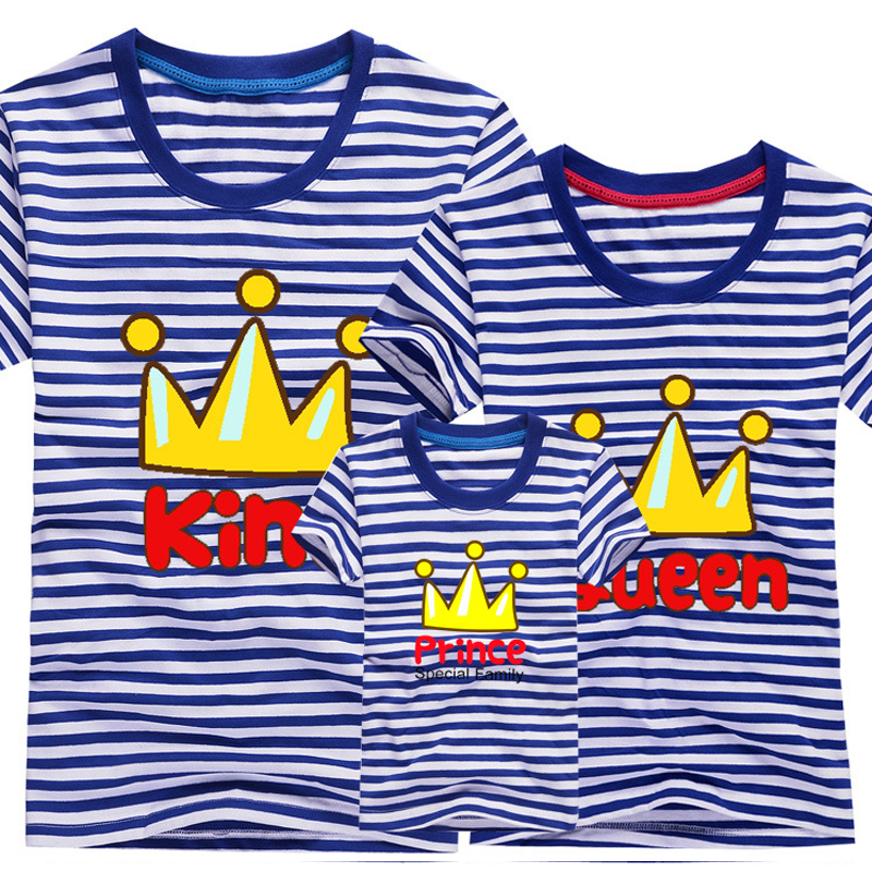 Fashion Family Mother & KidsT-shirt Boys Girls Crown 13 Color T Shirt Plus Size Mom & Me Father and Son Suits Mother Father plus size overlap tie dye t shirt