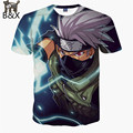 2016 Nuevo Anime Naruto 3D Mujeres de la camiseta/de Los Hombres camisetas de la Historieta Kakashi Camiseta Streetwear Crew Neck Corto Inconformista camisetas tops