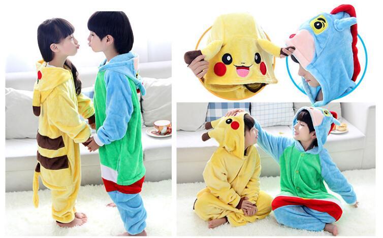 8c17478b9ace Hot Children Pokemon Pikachu Dinosaur Onesie Kids Girls Boys Warm Soft  Cosplay Pajamas One Piece Sleepwear Halloween Costumes