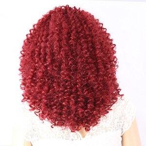Image 2 - AmirวิกผมAfro Kinky Curly Wigsสำหรับผู้หญิงเส้นใยสังเคราะห์ทนความร้อนสีดำสีน้ำตาลสีแดงเต็มวิกผมคอสเพลย์วิกผม