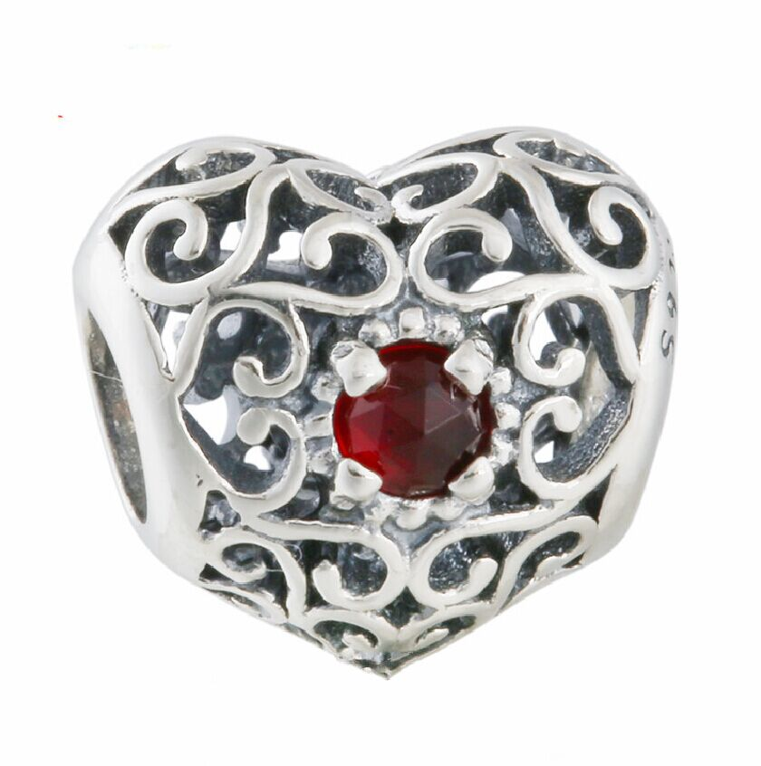 January birthstone garnets 925 sterling silver openwork for Birthstone beads for jewelry making