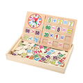 1Set Kids Math Learning Wooden Toy Box Mathmatic Preschool Primary School Students Addition Subtraction Numbers Stickers Toy
