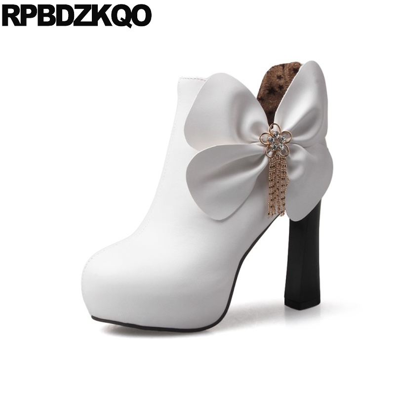 White Wedding Boots Extreme Embellished Shoes Winter High Heel Women Booties  Ankle Round Toe Flower Waterproof Rhinestone Thick 0b7ef05ca103