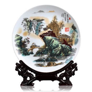 landscape painting, decorative plates, plates, hanging plates, modern home decoration, handicrafts, furnishings