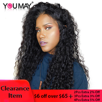 13X4 Curly Lace Front Wig 150% 180% Brazilian Lace Front Human Hair Wigs For Women Pre Plucked Natural Black You May Remy Hair
